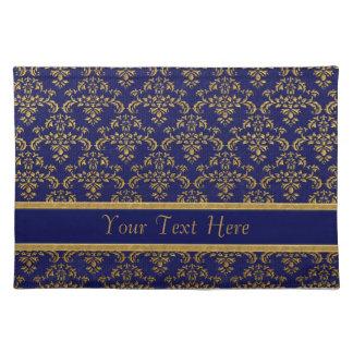Gold & Blue Damask Pattern Placemat
