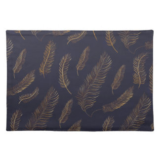 Gold & Blue Feather Placemat