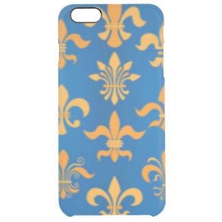 Gold Blue Fleur De Lis Pattern Print Design Clear iPhone 6 Plus Case