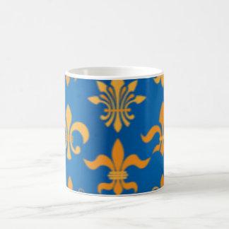 Gold Blue Fleur De Lis Pattern Print Design Coffee Mug