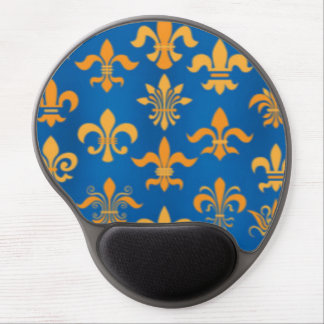 Gold Blue Fleur De Lis Pattern Print Design Gel Mouse Pad