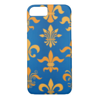 Gold Blue Fleur De Lis Pattern Print Design iPhone 8/7 Case