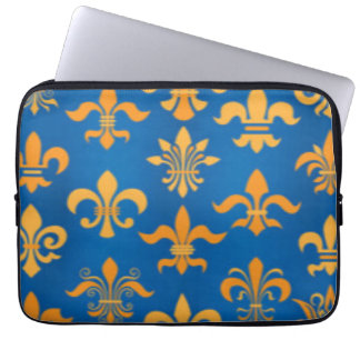 Gold Blue Fleur De Lis Pattern Print Design Laptop Sleeve