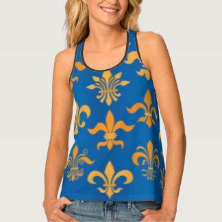 Gold Blue Fleur De Lis Pattern Print Design Singlet