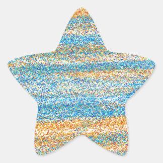 Gold Blue Glitter Abstract Star Sticker