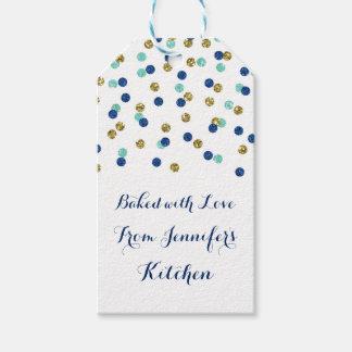 Gold Blue Glitter Confetti Christmas Baking Tags