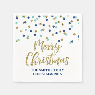 Gold Blue Glitter Confetti Merry Christmas Napkin Disposable Serviette