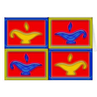 Gold & Blue Lamps Diwali Card