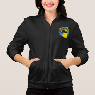 Gold &  Blue Macaw Fantasy Women Fleece Zip Jogger
