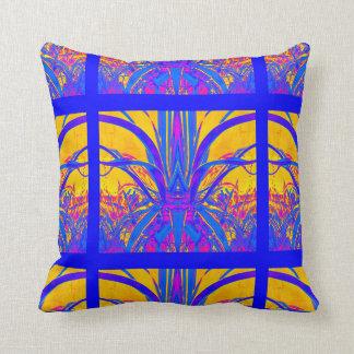 Gold-Blue Modern Art Deco Pillow by sharles