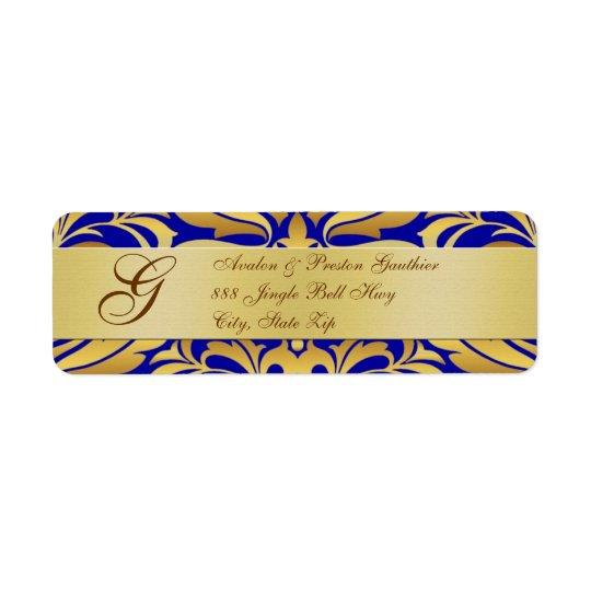 Gold & Blue Monogram Christmas Address Labels