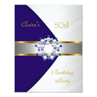 Gold Blue Navy White Invite 50th Birthday Party