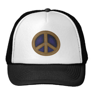 gold blue peace sign mesh hats