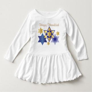 Gold & Blue Stars of David Happy Hanukkah Dress