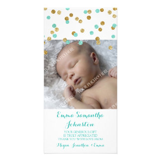 Gold Blue Thank You Baby Shower Photo Cards