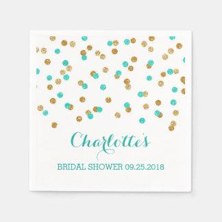 Gold Blue Turquoise Aqua Confetti Bridal Shower Paper Serviettes