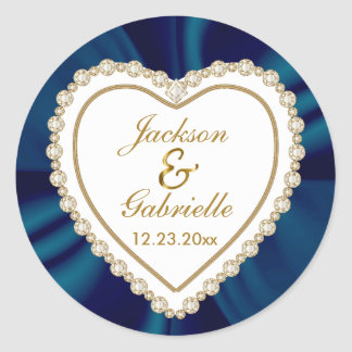 Gold & Blue Wedding for the Mr & Mrs   Personalize Round Sticker