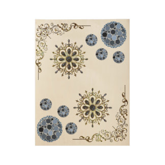 gold blue white wood poster