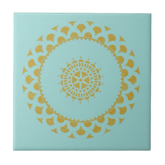 Gold & Blue Wrapping Paper Small Square Tile