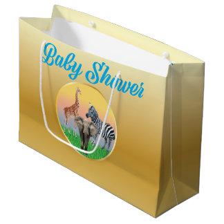 Gold & Blue Zoo Animal Baby Shower LG Bag