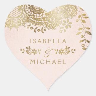 Gold blush elegant vintage lace wedding favor heart sticker