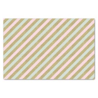 Gold Blush Mint Striped Celebration Tissue Tissue Paper