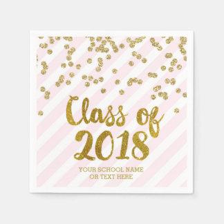 Gold Blush Pink Confetti Class of 2018 Graduation Paper Napkin