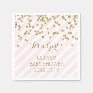 Gold Blush Pink Confetti Stripes Baby Shower Disposable Serviettes