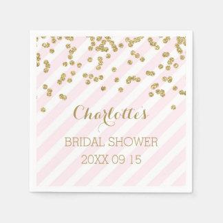 Gold Blush Pink Confetti Stripes Bridal Shower Disposable Napkin