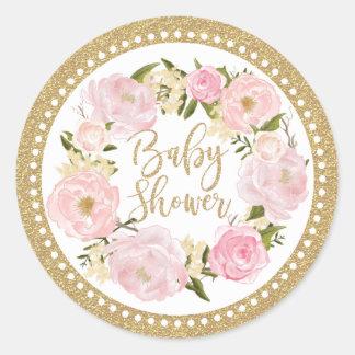 Gold Blush Pink Floral Baby Shower Favor Sticker
