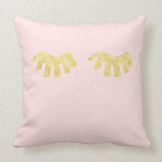 Gold Blush Pink Glam Eyelashes Cushion