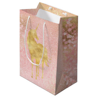 Gold Blush Pink Magical Unicorn Medium Gift Bag