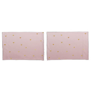 Gold Blush Pink Ombre Hearts Pillowcase