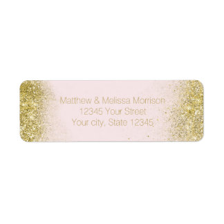 Gold Blush Pink Sparkle Faux Glitter Personalized Return Address Label