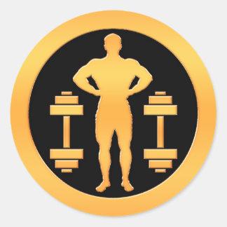 Gold Bodybuilder Classic Round Sticker