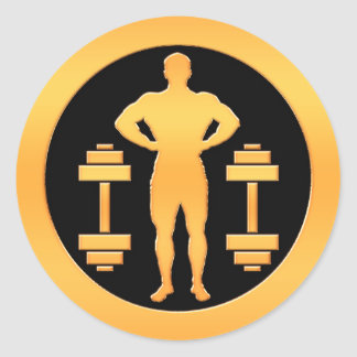 Gold Bodybuilder Round Sticker