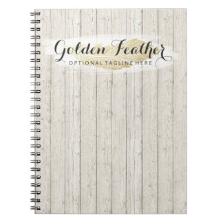 Gold Bohemian Feather on Rustic Wood Boards Notebook