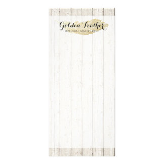 Gold Bohemian Feather on Rustic Wood Boards Rack Card