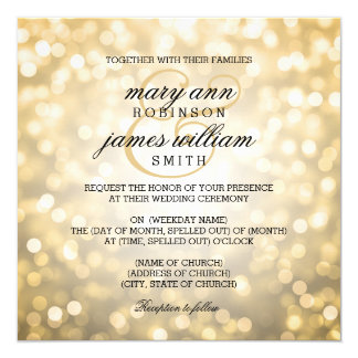 Gold Bokeh Lights Elegant Wedding 13 Cm X 13 Cm Square Invitation Card