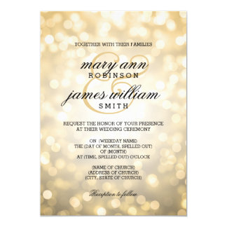 Gold Bokeh Lights Elegant Wedding Card