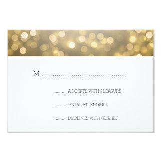 Gold Bokeh Lights Elegant Wedding RSVP 9 Cm X 13 Cm Invitation Card