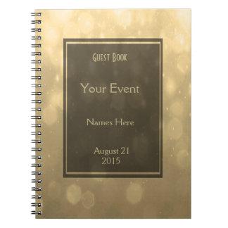 Gold Bokeh Lights Guest Book
