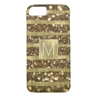 Gold Bokeh Stripes Monogram iPhone 8/7 Case