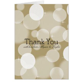 Gold Bokeh Thank You Note Card