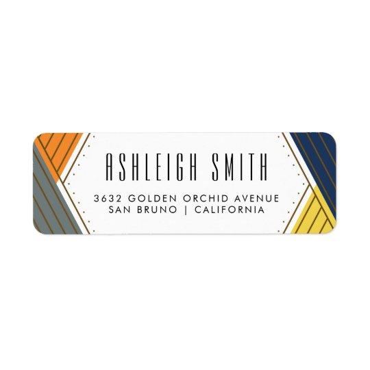 Gold & Bold Colours   Geometric Return Address Label
