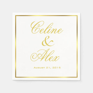 Gold Border Cocktail choose your background color Paper Napkin