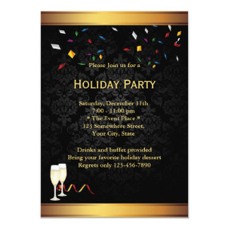 Gold Border Corporate Holiday Party Invitations