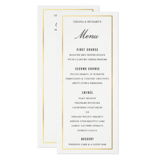 Gold Border Elegant Wedding Dinner Menu and Drinks Card