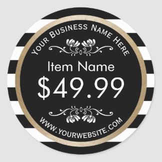 Gold Border Modern Black White Stripes Price Tag Round Sticker