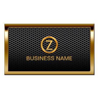 Gold Border Monogram Metal Cells Business Card